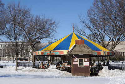 National Mall Carousel in snow