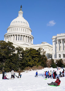 Sledders on the U.S. Capitol West Lawn