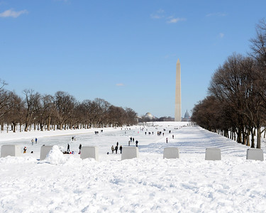 National Mall and Reflecting Pool covered in snow.