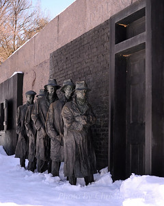 Franklin Delano Roosevelt Memorial in snow