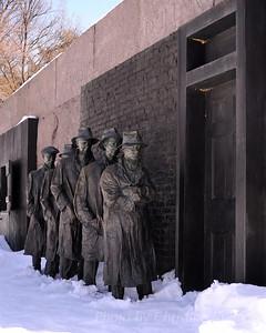 Franklin Delano Roosevelt Memorial in snow