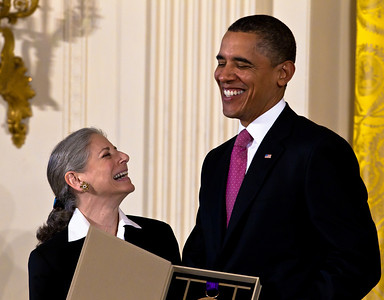 President Barack Obama honored Jacob's Pillow Dance Festival with a National Medal of Arts, the highest arts award given by the U.S. government. Ella Baff, Executive Director of Jacob's Pillow Dance, received the award from the President. Jacob's Pillow Dance Festival at 78 is the longest running dance festival in America. Each summer the Berkshires in Massachusetts come alive with over150 dance performances, some of which are free. President Obama awarded the 2010 National Medal of Arts and National Humanities Medal to 20 honorees in the East Room of the White House in Washington, DC on March 2, 2011. (Photo by Jeff Malet)