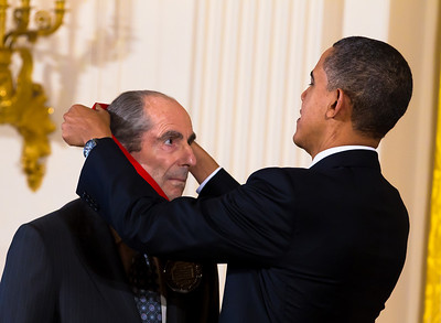 "United States President Barack Obama presented the 2010 National Humanities Medal to author Philip Roth in the East Room of the White House in Washington, DC on March 2, 2011. President Obama awarded the 2010 National Medal of Arts and National Humanities Medal to 20 honorees. Roth was honored ""for his contributions to American letters. Mr. Roth is the author of 24 novels, including Portnoy's Complaint and American Pastoral, which won the 1998 Pulitzer Prize, and his criticism has appeared in our leading literary journals."" (Photo by Jeff Malet)"
