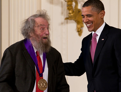 "United States President Barack Obama presents the 2010 National Medal of Arts Medal to poet Donald Hall in the East Room of the White House in Washington, DC on March 2, 2011. President Obama awarded the 2010 National Medal of Arts and National Humanities Medal to 20 honorees. The citation, read ""The 2010 National Medal of Arts to Donald Hall for his extensive contributions to American poetry. Through an illustrious career and as a Poet Laureate of the United States from 2006 to 2007, Mr. Hall's work has inspired Americans and enhanced the role of poetry in our national life."" (Photo by Jeff Malet)"