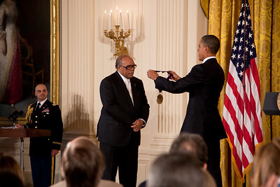 United States President Barack Obama presented the 2010 National Medal of Arts to jazz great Quincy Jones in the East Room of the White House in Washington, DC on March 2, 2011. President Obama awarded the 2010 National Medal of Arts and National Humanities Medal to 20 honorees. The National Medal of Arts is the highest award given to artists and arts patrons by the United States Government. Quincy Jones was honored for his extraordinary contributions to American music as a musician, composer, record producer, and arranger. As a master inventor of musical hybrids, he has mixed pop, soul, hip-hop, jazz, classical, African, and Brazilian music into many dazzling fusions, traversing virtually every medium, including records, live performances, movies, and television. (Photo by Jeff Malet)