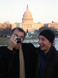 Phil Beer and Nick Lizop and their little photo-op - Washington, DC ... December 10, 2005 ... Photo by Rob Page III
