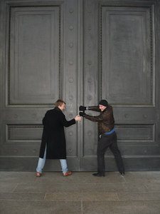 Phil Beer and Nick Lizop trying to open the doors to the National Gallery of Art - Washington, DC ... December 10, 2005 ... Photo by Rob Page III