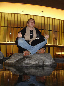 Phil Beer meditating on his Native American Island - Washington, DC ... December 10, 2005 ... Photo by Rob Page III