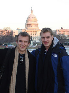 Phil Beer and Rob Page in front of the Capitol - Washington, DC ... December 10, 2005 ... Photo by Nick Lizop