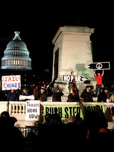 A protest in front of the Capitol for the State of the Union Address - Washington, DC ... January 31, 2006 ... Photo by Rob Page III