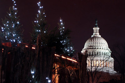 The National Capitol rises behind the trains of the United States Botanical Garden - Washington, DC ... December 21, 2006 ... Photo by Rob Page III