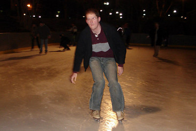 John, ice skating in Pershing Park before heading to the Grenada - Washington, DC ... December 31, 2006 ... Photo by Heather Page