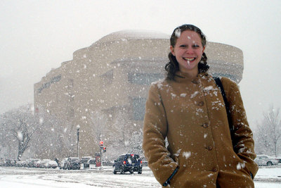 Emily in front of the American Indian Museum - Washington, DC ... February 24, 2007 ... Photo by Rob Page III