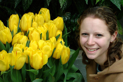 Emily enjoying the tulips at the Botanical Gardens - Washington, DC ... February 24, 2007 ... Photo by Rob Page III