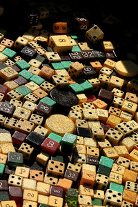 Some of the dice for sale down at the Eastern Market - Washington, DC ... February 1, 2009 ... Photo by Emily Page