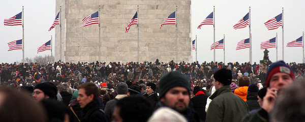 The crowd on the National Mall for the Concert at the Lincoln Memorial - Washington, DC ... January 18, 2009 ... Photo by Rob Page III
