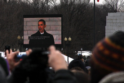 Obama takes the stage at the Concert at the Lincoln Memorial - Washington, DC ... January 18, 2009 ... Photo by Rob Page III