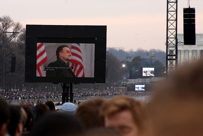 Bono takes the stage at the Concer at the Lincoln Memorial - Washington, DC ... January 18, 2009 ... Photo by Rob Page III