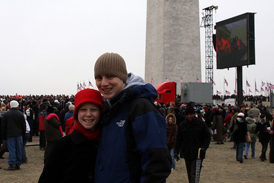 Rob and Emily joining the crowds on the National Mall for the Concert at the Lincoln Memorial - Washington, DC ... January 18, 2009 ... Photo by Greg Dost