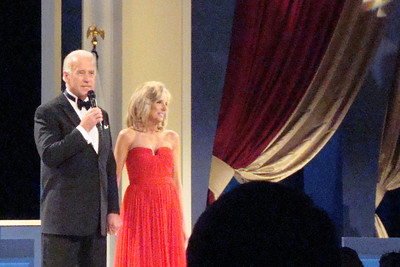 Joe and Jill Biden speak to the crowd at the Midwest Inaugural Ball - Washington, DC ... January 20, 2009 ... Photo by Rob Page III