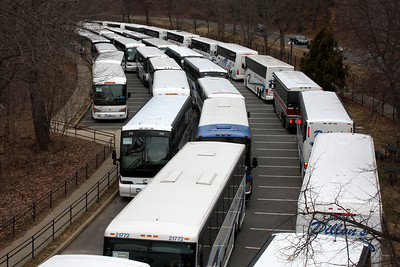Buses lined up at the National Zoo to transport people for the Inauguration events - Washington, DC ... January 18, 2009 ... Photo by Rob Page III
