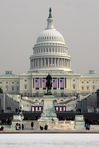 The Capitol is decked out for the Inauguration - Washington, DC ... January 19, 2009 ... Photo by Rob Page III