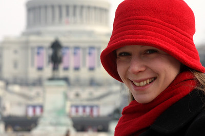 Emily and the Capitol the day before the Inauguration - Washington, DC ... January 19, 2009 ... Photo by Rob Page III