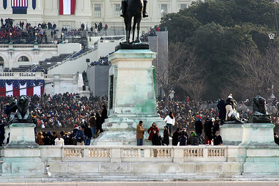 Crowds gather on Grant's Civil War memorial for Obama's Inauguration - Washington, DC ... January 20, 2009 ... Photo by Rob Page III