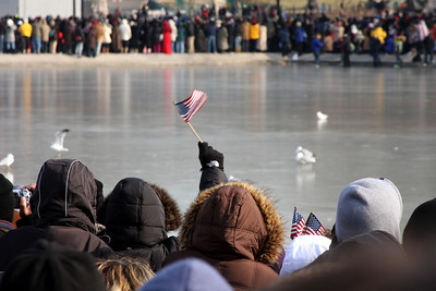 The festive crowd around the Capitol reflecting pool - Washington, DC ... January 20, 2009 ... Photo by Rob Page III