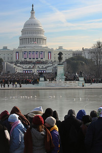 The crowd around the Capitol reflecting pool on Obama's Inauguration day - Washington, DC ... January 20, 2009 ... Photo by Rob Page III