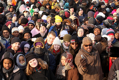 Emily and Rob in the middle of the crowd - Washington, DC ... January 20, 2009 ... Photo by Denver Post