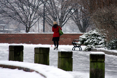 A women walks through Walter Pierce park on her way to work - Washington, DC ... January 28, 2009 ... Photo by Rob Page III