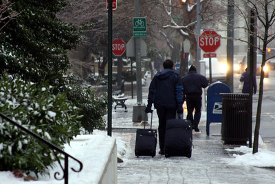 Washington makes its way back to work after the ice storm - Washington, DC ... January 28, 2009 ... Photo by Rob Page III