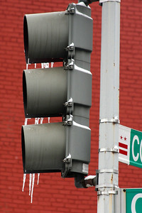 Ice flows from the traffic lights - Washington, DC ... January 27, 2009 ... Photo by Rob Page III