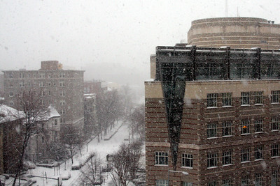 The snow falls outside my office building - Washington, DC ... March 2, 2009 ... Photo by Rob Page III