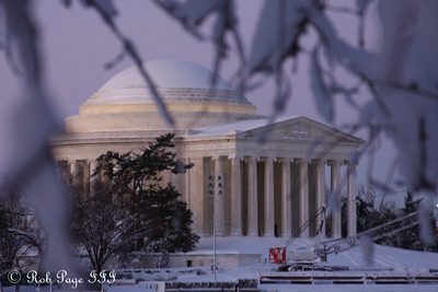 The Jefferson Memorial at sunrise - Washington, DC ... February 7, 2010 ... Photo by Rob Page III