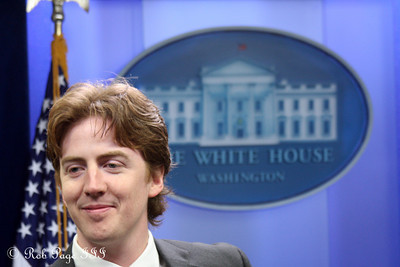 Scott enjoying the Press Room at the White House - Washington, DC ... December 16, 2009 ... Photo by Rob Page III