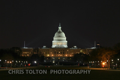 US Capitol over the National Mall at Night