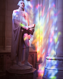 George Washington bathed in light from a stained glass window at the National Cathedral, Washington DC