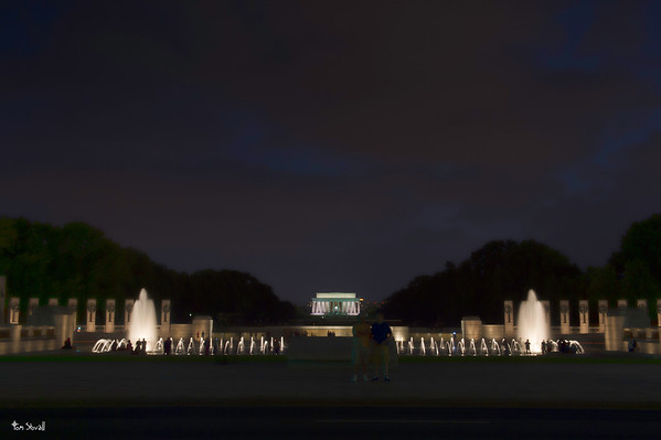 WW II Memorial and Lincoln Monument with two guys in the middle trying to mess up  my shot.