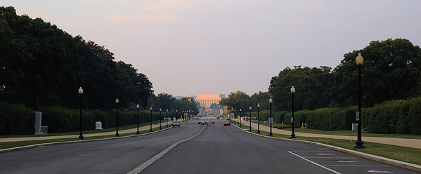 View from the front gate at Arlington Cemetery looking towards DC