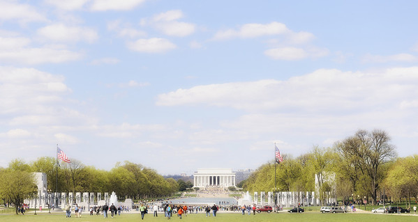 Photo taken of the Lincoln Memorial and the World War II Memorial from near the Washington Monument.