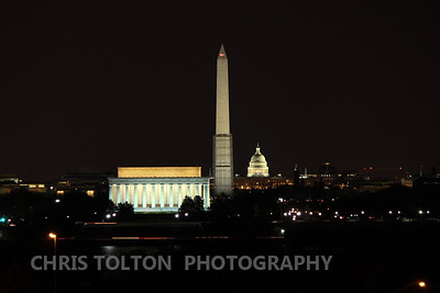 Monuments on the National Mall at Night