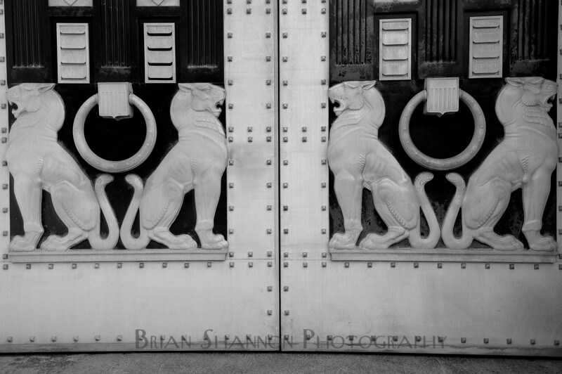 Detail on the doors of the Justice Department, Washington, DC.