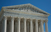 Close up Angled Detail  shot of the US Supreme Court Facade