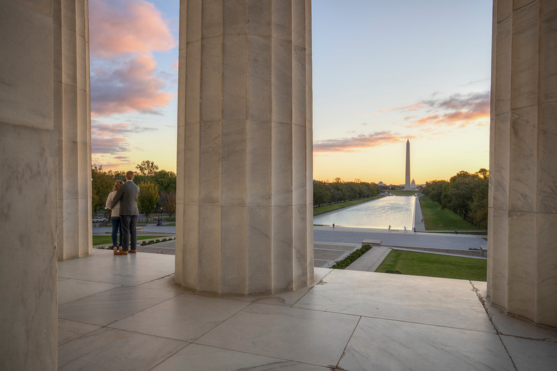 Couple Enjoying View From Lincoln Memorial