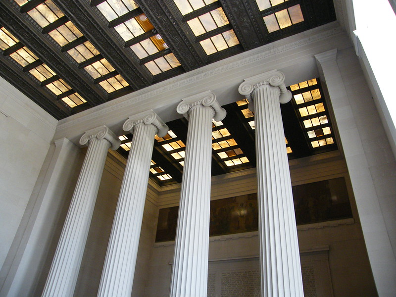pillars inside Lincoln Memorial