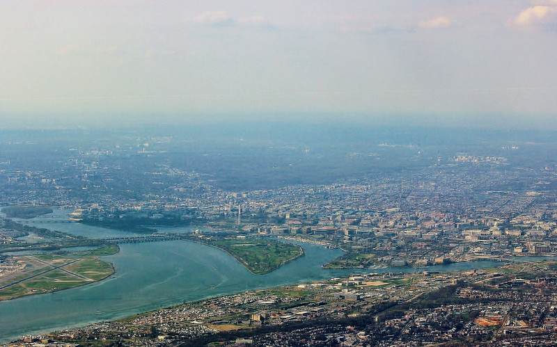 Aerial View of the Potomac River and Washington, D.C.