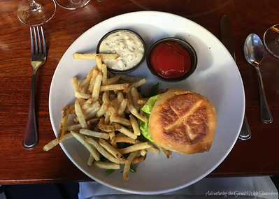 Dungeness Crab Cake Sandwich and Fries at Dahlia Lounge Brunch in Seattle