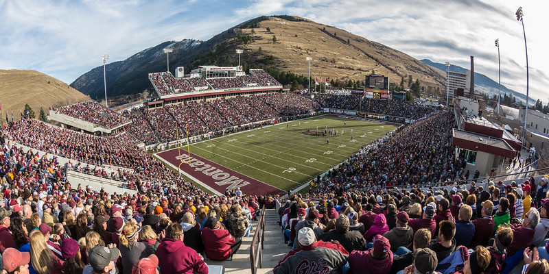 Game Day- The 112th annual Brawl of the Wild between the Montana Grizzlies and the Montana State Bobcats. November 2012.  Please note that this image is a 2:1 ratio and will work best in these panoramic print sizes (5x10, 8x16,10x20,12x24)